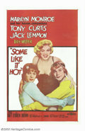 "Movie Posters:Comedy, Some Like It Hot (United Artists, 1959). One Sheet (27"" X 41"").Marilyn Monroe, Tony Curtis and Jack Lemmon star in Billy Wi..."