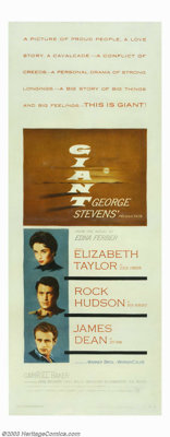 """Giant (Warner Brothers, 1956). Insert (14"""" X 36""""). This sprawling, epic tale of a Texas family was a blockbust..."""