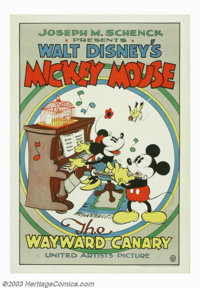 "Wayward Canary,The (United Artists, 1932). One Sheet (27"" X 41""). The fun ensues when Mickey gives Minnie a ca..."