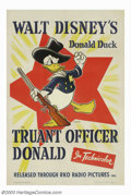"""Movie Posters:Animated, Truant Officer, The (RKO, 1941). One Sheet (27"""" X 41""""). Walt Disneymade the public's favorite cartoons and Donald Duck was ..."""