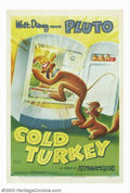 "Movie Posters:Animated, Cold Turkey (RKO, 1951). One Sheet (27"" X 41""). Great Disney posterfor a Pluto short where he and the house cat are goaded ..."