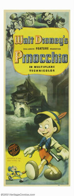 "Pinocchio (RKO, 1940). Insert (14"" X 36""). Pinocchio and pal Jiminy Cricket embark on a series of adventures a..."