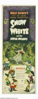 "Snow White and the Seven Dwarfs (RKO, 1937). Insert (14"" X 36""). Disney was on the verge of bankruptcy when it..."