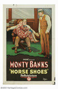 "Movie Posters:Short Subject, Horse Shoes (Pathe', 1927). One Sheet (27"" X 41""). Little isremembered about the star of this short, Monty Banks, but would..."