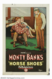"""Horse Shoes (Pathe', 1927). One Sheet (27"""" X 41""""). Little is remembered about the star of this short, Monty Ba..."""