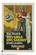 "Movie Posters:Comedy, Why Girls Love Sailors (Pathe', 1927). One Sheet (27"" X 14""). Although Stan Laurel and Oliver Hardy both appear in this two-..."