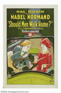 """Movie Posters:Crime, Should Men Walk Home (Pathe', 1927). One Sheet (27"""" X 41""""). She was considered the """"Woman Chaplin"""" of the movies. Perhaps th..."""