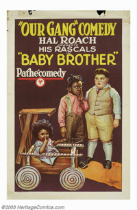 "Baby Brother (Pathe', 1927). One Sheet (27"" X 41""). Hal Roach began his series of ""Our Gang"" comedie..."