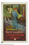 "Movie Posters:Comedy, His First Flame (Pathe', 1927). One Sheet (27"" X 41""). Frank Capra started his career writing for the Mack Sennett studio an..."