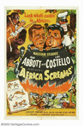 "Movie Posters:Comedy, Africa Screams (United Artists, 1949). One Sheet (27"" X 41"").Abbott and Costello are on safari in this hilarious film, that..."