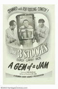 """Movie Posters:Comedy, Gem of a Jam, A (Columbia, 1943). One Sheet (27"""" X 41""""). Consideredby many fans to be one of their best shorts, the Three S..."""
