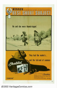 """Amblin' (Four Star Excelsior, 1971). One Sheet (27"""" X 41""""). Historical in the fact that this is Steven Spielbe..."""
