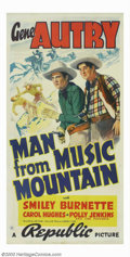 "Movie Posters:Western, Man From Music Mountain (Republic, 1938). Three Sheet (41"" X 81"").Gene Autry, known as the Yodelin' Cowboy, led the popular..."
