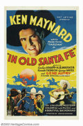 """Movie Posters:Western, In Old Santa Fe (Mascot, 1934). One Sheet (27"""" X 41""""). Though thisis billed as a Ken Maynard western and was his first for ..."""