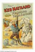 "Movie Posters:Western, Phantom Thunderbolt (World Wide Pictures, 1933). One Sheet (27"" X41""). Ken Maynard was a trick rider in Buffalo Bill's Wild..."