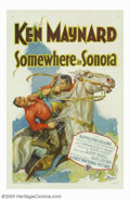 "Movie Posters:Western, Somewhere in Sonora (Warner Brothers, 1933). One Sheet (27"" X 41"").This early Ken Maynard silent western was one of a serie..."