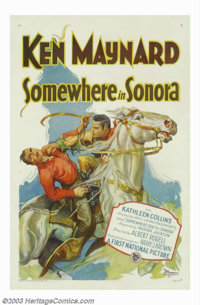 "Somewhere in Sonora (Warner Brothers, 1933). One Sheet (27"" X 41""). This early Ken Maynard silent western was..."