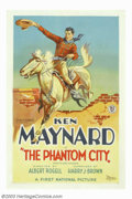"Movie Posters:Western, Phantom City, The (First National, 1928). One Sheet (27"" X 41"").Throughout the twenties and early thirties, Ken Maynard was..."