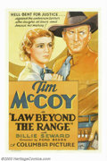 "Movie Posters:Western, Law Beyond the Range (Columbia, 1935). One Sheet (27"" X 41""). TimMcCoy was recruited by Hollywood to provide Indian extras ..."