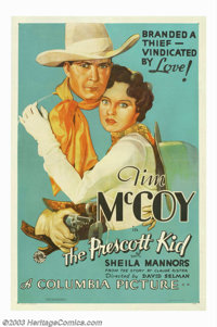 """Prescott Kid, The (Columbia, 1934). One Sheet (27"""" X 41""""). By the early thirties, Tim McCoy was one of Columbi..."""