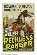 "Movie Posters:Western, The Reckless Ranger (Columbia, 1937). One Sheet (27"" X 41""). Bob (Tex) Allen starred in the ""Texas Ranger"" westerns. With a ..."