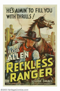 "The Reckless Ranger (Columbia, 1937). One Sheet (27"" X 41""). Bob (Tex) Allen starred in the ""Texas Ranger..."