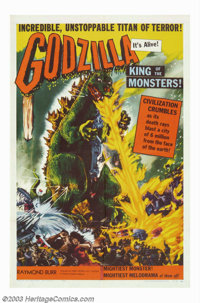 """Godzilla (Toho, 1956). One Sheet (27"""" X 41""""). Imported from Japan and edited with domestic-made footage starri..."""