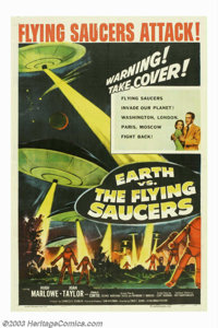 """Earth vs. the Flying Saucers (Columbia, 1956). One Sheet (27""""X41""""). An above average entry in the 1950s scienc..."""