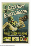 "Movie Posters:Horror, Creature From the Black Lagoon (Universal International, 1954). One Sheet (27"" X 41""). This is the eerie tale of a prehistor..."