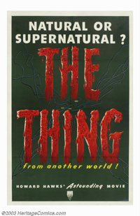"""The Thing From Another World (RKO, 1951). One Sheet (27"""" X 41""""). This film was adapted from John W. Campbell's..."""