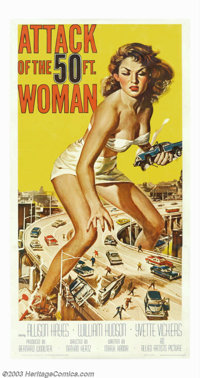 "Attack of the 50ft Woman (Allied Artists, 1958). Three Sheet (41"" X 81""). Allison Hayes is out for revenge and..."