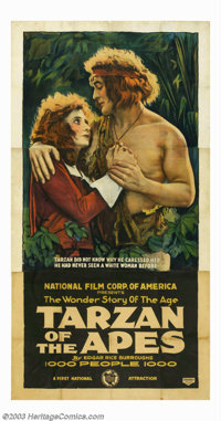 """Tarzan of the Apes (First National, 1918). Three Sheet (41"""" X 81""""). This historic poster from the first Tarzan..."""
