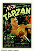 "Movie Posters:Serial, New Adventures of Tarzan, The (Burroughs-Tarzan-Enterprise, 1935).One Sheet (27"" X 41""). This was the first independently m..."