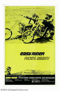 "Easy Rider (Columbia, 1969). One Sheet (27"" X 41""). This incredibly rare reissue poster is the only one to sho..."