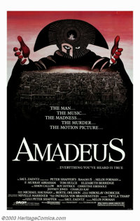 """Amadeus (Orion, 1984). One Sheet (27""""' X 41""""). The Man... The Music... The Madness... The Murder... The Motion..."""