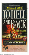 "Movie Posters:Adventure, To Hell and Back (Universal, 1955). Three Sheet (41"" X 81""). AudieMurphy delivers his best performance, playing himself, in..."