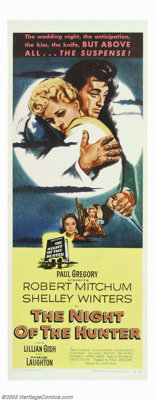 "Night of the Hunter (United Artists, 1955). Insert (14"" X 36""). No one who has seen this nightmarish film noir..."