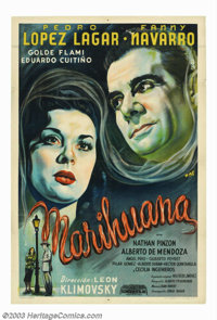 "Marihuana (SACL, 1950). Argentinian Poster (29.5"" X 43.5""). A respected surgeon, vowing revenge, ventures into..."