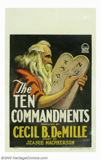 "Ten Commandments, The (Paramount, 1923). Window Card (14"" X 22""). This window card is from Cecil B. DeMille's..."
