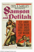 "Movie Posters:Adventure, Samson and Delilah (Paramount, 1949). One Sheet (27"" X 41""). Victor Mature as the strongman Samson, loses his hair and stren..."