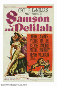 "Samson and Delilah (Paramount, 1949). One Sheet (27"" X 41""). Victor Mature as the strongman Samson, loses his..."