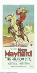 "Movie Posters:Western, Phantom City, The (First National, 1928). Three Sheet (41"" X 81""). Ken Maynard performed as a trick rider with Buffalo Bill ..."