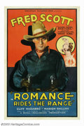 """Movie Posters:Western, Romance Rides the Range (Spectrum, 1936). One Sheet (27"""" X 41"""").Fred Scott appeared in one silent picture, a few shorts and..."""
