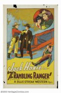 "Movie Posters:Western, Rambling Ranger, The (Universal, 1927). One Sheet (27"" X 41""). Thislovely stone lithograph one sheet is from one of the man..."