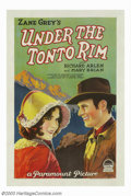 "Movie Posters:Western, Under the Tonto Rim (Paramount,1928). One Sheet (27"" X 41""). Thislovely stone litho one sheet was the first adaptation of Z..."