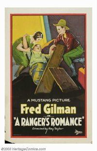 """Ranger's Romance (Universal, 1927). One Sheet (27"""" X 41""""). Curly haired and dimpled, Fred Gilman was a cowboy..."""