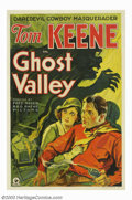 "Movie Posters:Western, Ghost Valley (RKO, 1932). One Sheet (27"" X 41""). Tom Keene wasRKO's B-western star before George O'Brien or Tim Holt arrive..."