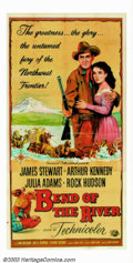 "Movie Posters:Western, Bend Of The River (Universal, 1952). Three Sheet (41"" X 81""). From1950-1955, Jimmy Stewart and director Anthony Mann teamed..."