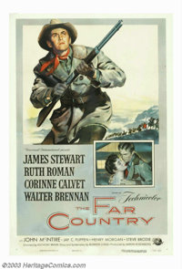 "Far Country, The (Universal International, 1955). One Sheet (27""X41""). James Stewart and director Anthony Mann..."