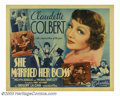 "Movie Posters:Comedy, She Married Her Boss (Columbia, 1935). Half Sheet (22"" X 28"").Secretary Claudette Colbert marries her boss, Melvyn Douglas,..."
